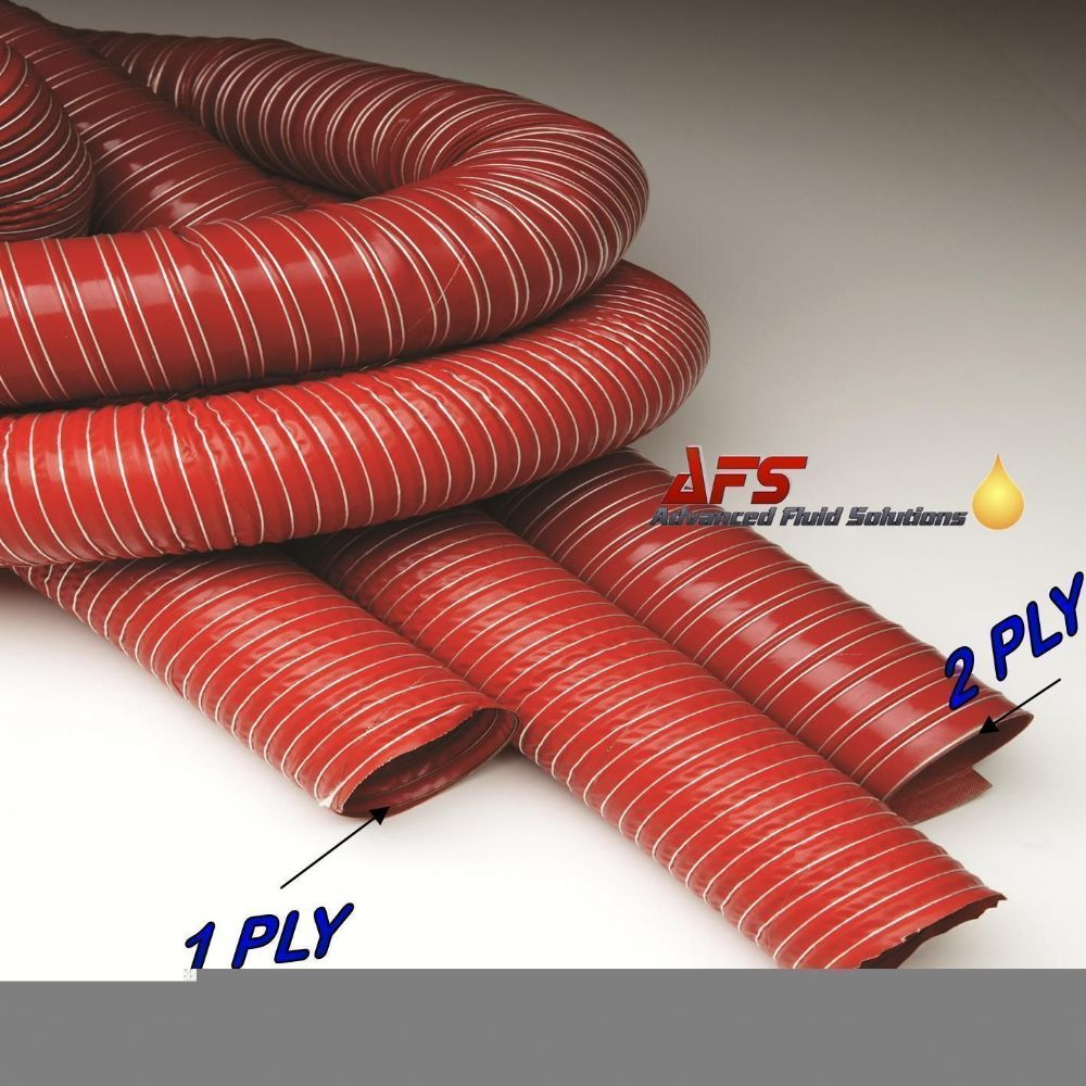 60mm I.D RED 2 Ply Silicone Flexible Hot & Cold Air Ducting